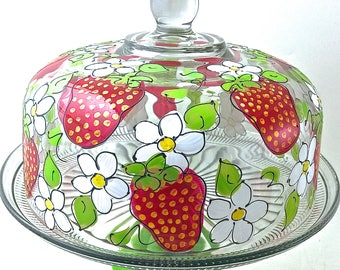 Strawberry Cake Dome Set | Cake Stand | Cake Dome and Pedestal | Hand Painted Glass