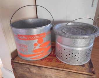 Vintage 2 Piece Old Pal Woodstream Floating 8 Qt Minnow Bucket...Galvanized...Tackle...Beach Lake Cottage Decor