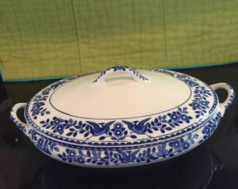 Antique Royal Sometuke Nippon Oval Covered Vegetable Dish