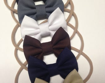 Neutral/Basic set of handmade fabric bow headbands for babies toddlers and adults