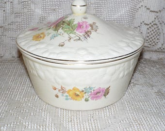 Crooksville Pantry Bak-In Ware Floral Design Casserole Bowl With Lid