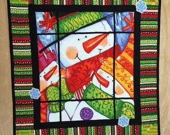 Quilted Christmas Table Topper, Patchwork Snowman Centerpiece or Wall Hanging, Red and Green Candle Mat, Winter Holiday Decor