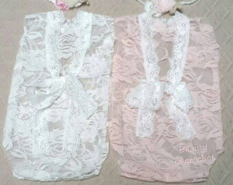 Newborn twin girls photo props  lace rompers and tiebacks twin girls props  newborn photography prop baby girl  outfits