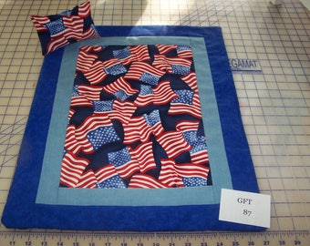 "Patriotic, American Girl Sized, Reversible Doll Quilt, 17"" X 21 1/2"" with Matching Pillow, 5 3/4"" X 3 1/2""."