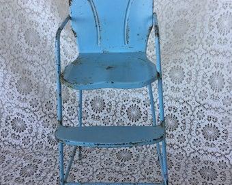 Doll highchair, 1950's, blue, Amsco