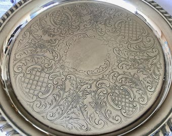 "Vintage silver plate tray, beaded edge, 8.5"" round"