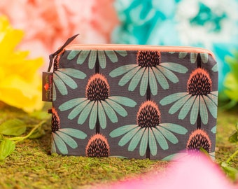 Zipper pouch, Small makeup bag, Cosmetic pouch, Zipper bag, Travel pouch, Floral pouch, Zip bag, Gift for her