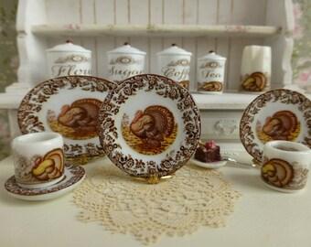 Thanksgiving Brown Turkey Dollhouse Plate