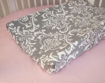 Gray Damask Baby Changing Pad Mat Cover for Gray damask / Pink Nursery