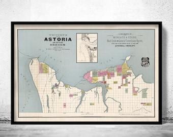 Astoria Oregon Old Map 1890 Vintage Map