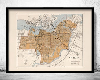 Old Map of Ottawa Canada 1915