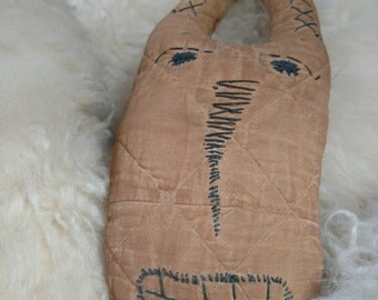 Creepy Folk Art Doll, antique vintage weird stuff, scary toys