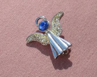 Vintage Angel Blue Clear Rhinestone Brooch