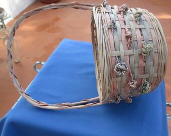 Vintage Woven Pastel Colored Easter Basket
