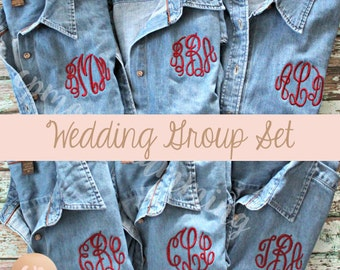 Monogram Denim Shirt | Bridesmaid Button Up | Monogrammed Shirt | Monogram Button Down | Bride Shirt | Bridal Party | Wedding Denim Shirt