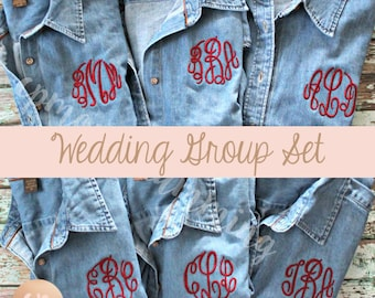 Monogram Denim Shirt | Bridesmaid Button Up | Monogrammed Shirt | Monogram Button Down | Bride Shirt | Bridal Party | Wedding Denim Shirt