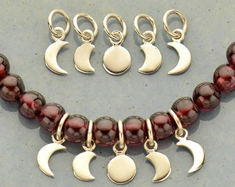 Sterling Silver Moon Phase Charm Set - 5 Moon Charms.