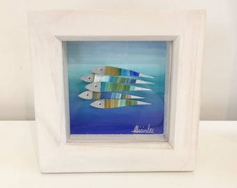 Fish art original abstract painting framed 12x12cm - Made by Alicia Lee