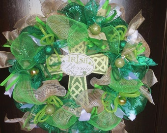 St.Patrick's Day Wreath, Irish, Front Door wreath, Irish Blessings, Christian Cross, Green Mesh, Spring Door Decor, Deco Mesh FREE S/H