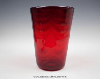 29cm tall Whitefriars wave-ribbed, ruby tumbler glass vase by Marriott Powell. #8473