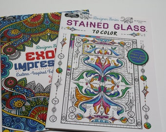 Adult Coloring Book Package of Two w/ Bonus 18 Marker Set - FREE SHIPPING