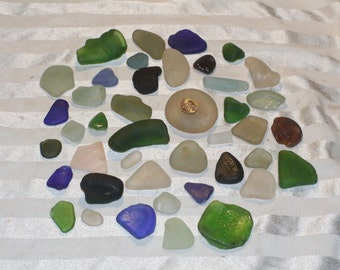50ct over a Pound of White, Aqua, Blue, Green, Brown, Sea Foam 100% Genuine Ocean Tumbled Sea Glass from the Monterey Bay, Jewelry