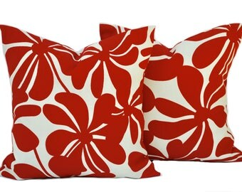 Pair of Premier Prints Indoor/Outdoor red floral Pillow Covers, 18x18, cushion, decorative pillow, throw pillow