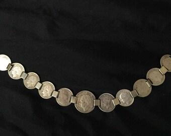 Silver Coin Link Bracelet