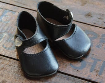 Black Mary Jane Doll Shoes ~ Vintage ~ Doll Clothes