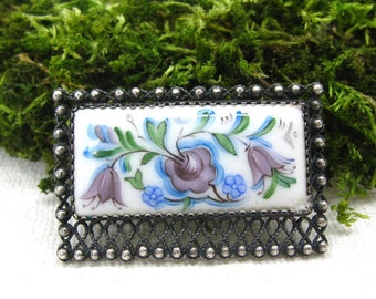 Russian Finift enamel brooch for mom lilac bell flower jewelry folk art enamel painting collectible rare vintage brooches gift mothers day