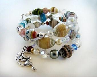 Beaded Bracelet, Handmade Bracelet, Wrap Bracelet, Paper Bead Bracelet, Fairy Bracelet, Adjustable Bracelets, BoHo Bracelet, Fairy Charm