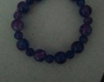 Purple and blue stretch bracelet