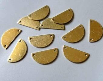 100pcs Raw Brass Half Round Charms,Stamping Tag, 15mmx8mm - F522