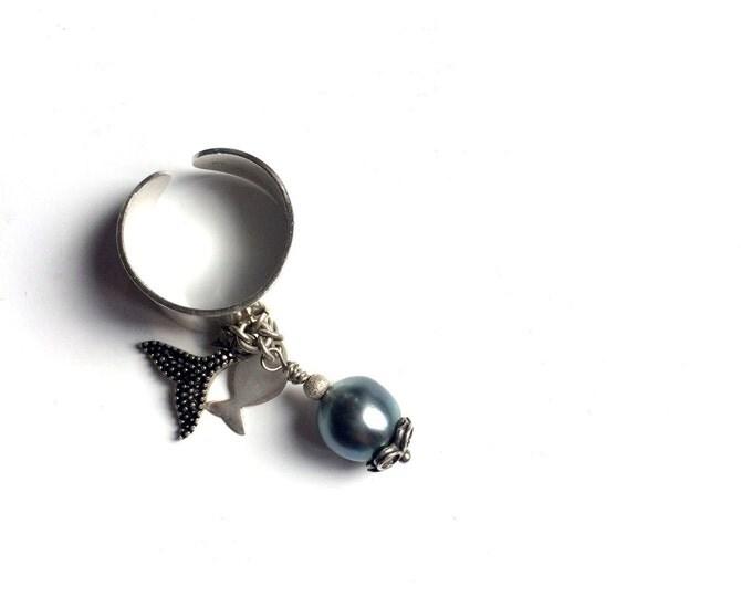 tahitian pearl blue shimmerings, leather, sterling silver, Women ring tahitian pearl