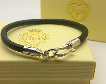 Sterling Silver Scroll leather bracelet handmade.
