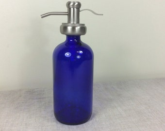 Jar 16 ounce Bottle Soap Dispenser Bathroom Kitchen Pump blue Glass Metal Shampoo Spray Refillable container reuse Mouth wash store lotion