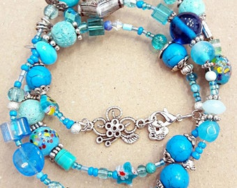 Blue turquoise lampwork Glass Beads Bracelet with Tibetan silver