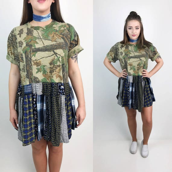 The Lunar Eclipse Dress Camouflage Mixed Print Plaid Mini Dress Medium/6-8 - Upcycled Patchwork Funky Tunic T-Shirt Dress Wide Baggy Loose