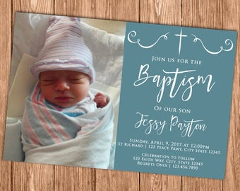 Baptism Invitation - Blue and White First Communion Invite - Naming Day - Christening - Confirmation - Photo - Printable or Printed