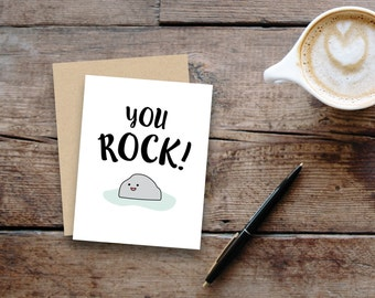 You rock // small greeting card, blank inside // kraft envelope // Mother's Day