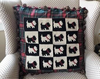 "RARE Retired 22"" Mackenzie Childs Pillow Scottish Terrier Dog"