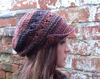 Crochet newsboy hat . Newsboy hat with buttons . Slouch beanie .  Peaked hat , Brown newsboy hat . Festival hat.