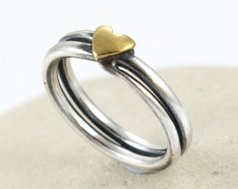 Sterling Silver Ring with gold heart. Anniversary Gift Ring -  Love Ring - Silver Dainty ring - Stack Ring