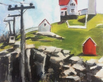 2017 SPRING STUDIO SALE : 8x10 Oil Painting of Nubble Light House in York Maine