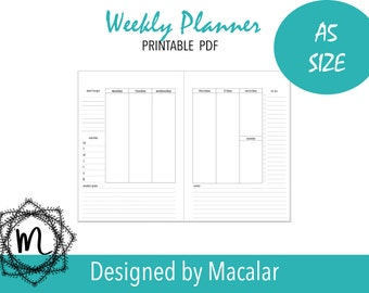 Weekly planner two pages printable insert A5 Size,Printable planner; Planner Inserts;Weekly Organizer; Custom daily planner;cute planners