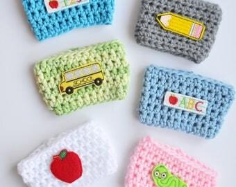 Back 2 School Cozies, Teacher Cozy, School Cozy, Teacher Coffee Cozy, Teacher Gift, Teacher Mug Cozy, School Coffee Cozy, Coffee Cozy, Apple
