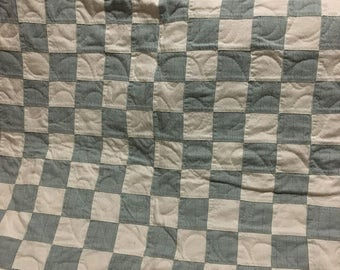 Blue Square Baby Quilt