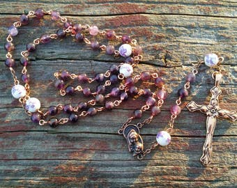 Catholic Rosary Beads Amethyst and Iris