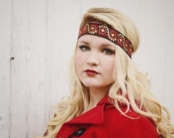 Black Gold Red Boho Headband - Forehead Headband - Bohemian Gypsy Headbands - Hippie Headband - Tribal Patterned Head Wrap