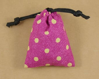 Fuchsia Frivolity Mini Drawstring Dice Pouch with Black Lining
